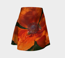 Bees at Work in Orange Poppy flared skirt Flare Skirt- ealanta Art Wear