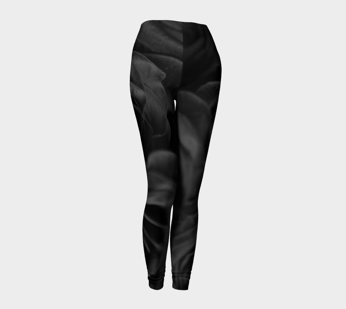 Red Rose Black & White Leggings ealanta Leggings- ealanta Art Wear