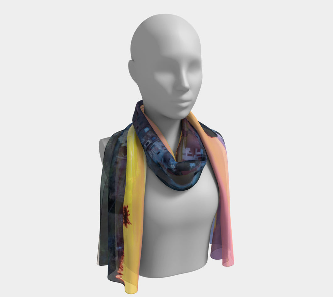 Tuscan Raspberry & Lemon Sky Long Scarf- ealanta Art Wear
