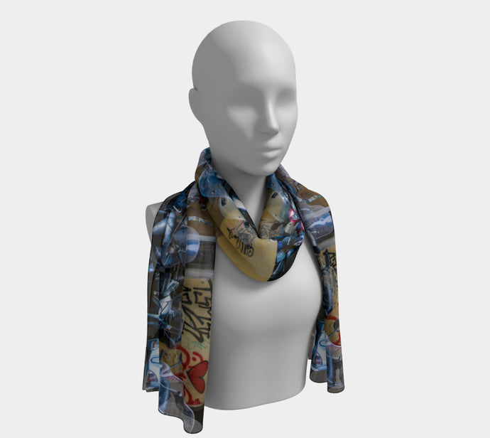 Italian Graffiti Motor Bike Parking Florence Long Scarf- ealanta Art Wear