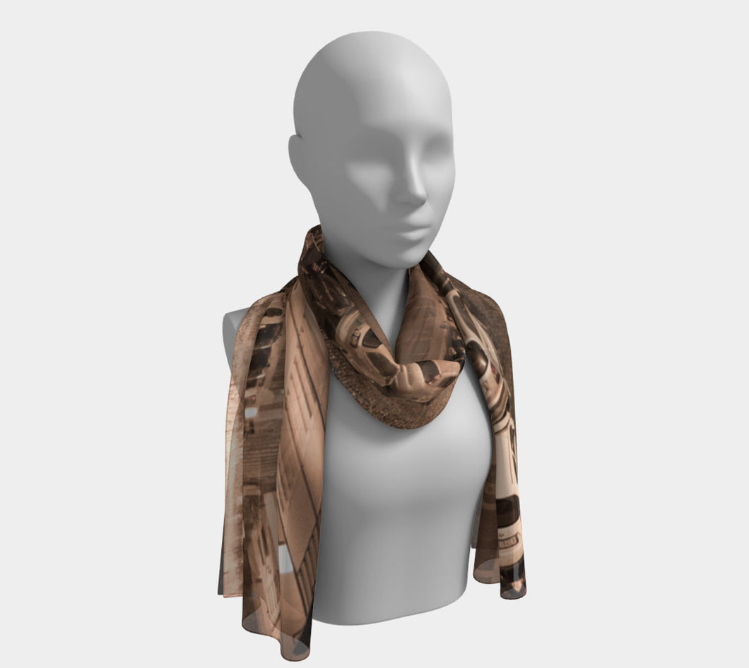 Rome Parking street Arial sepia ealanta Long Scarf- ealanta Art Wear