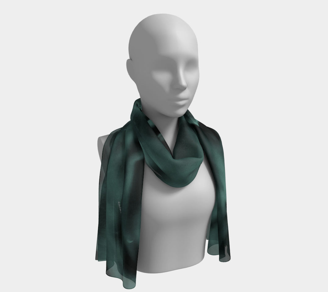 Teal Under Water Roses scarf ealanta Long Scarf- ealanta Art Wear