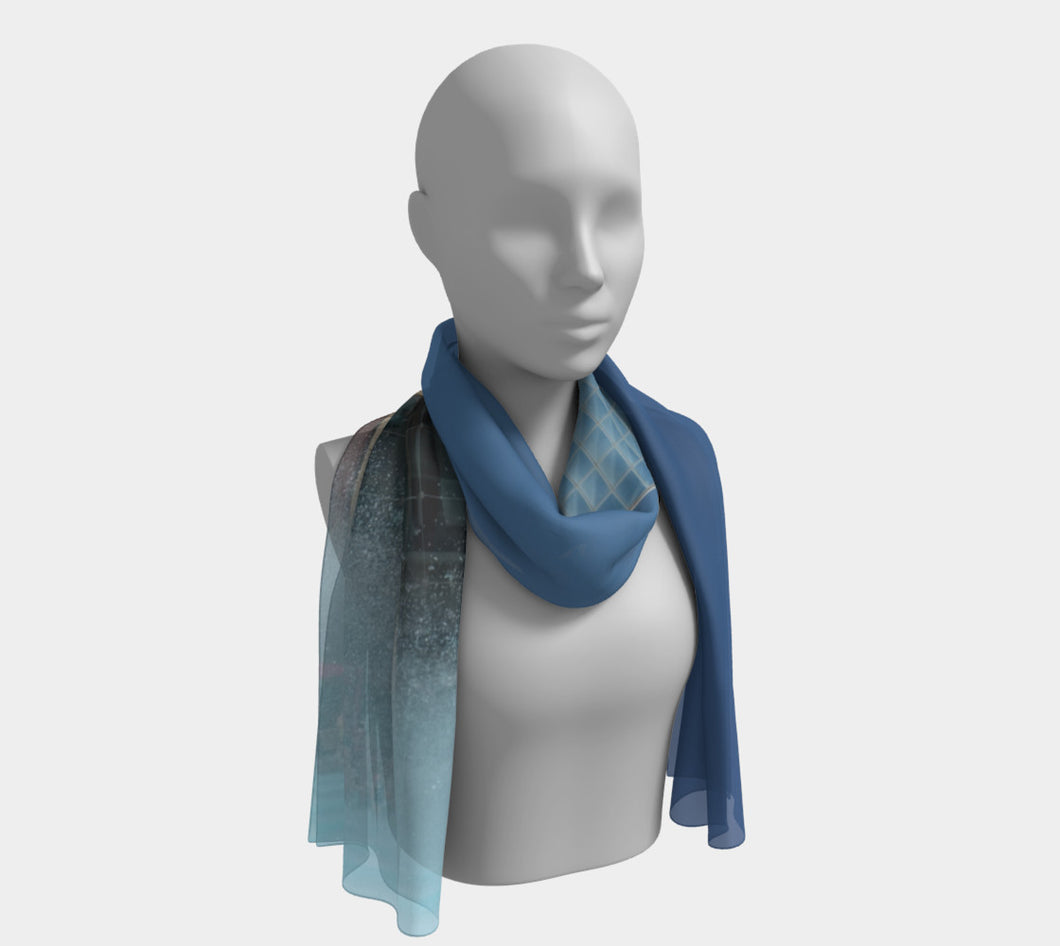 Edmonton City Hall Fountain ealanta scarf Long Scarf- ealanta Art Wear