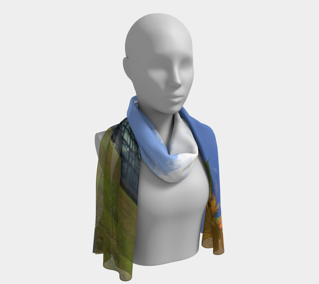 Sunflower over Muttart Long Scarf- ealanta Art Wear