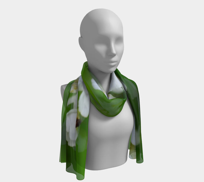 White Blossoms scarf Long Scarf- ealanta Art Wear