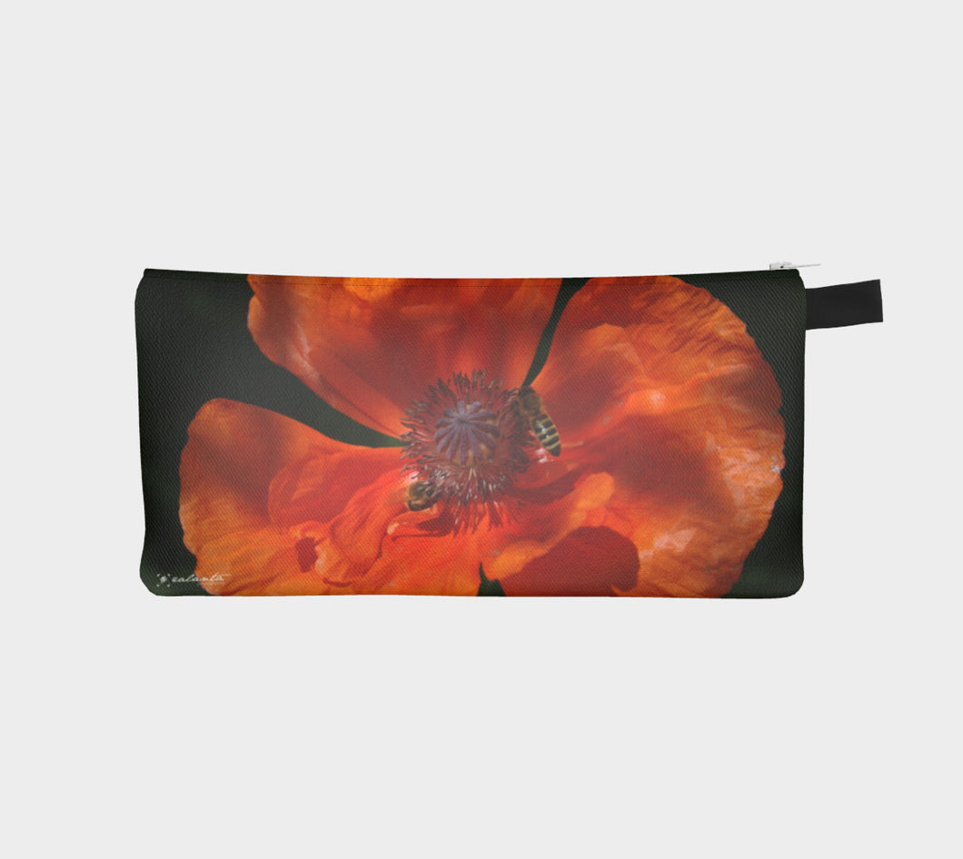 Orange Poppy Bees case Pencil Case- ealanta Art Wear