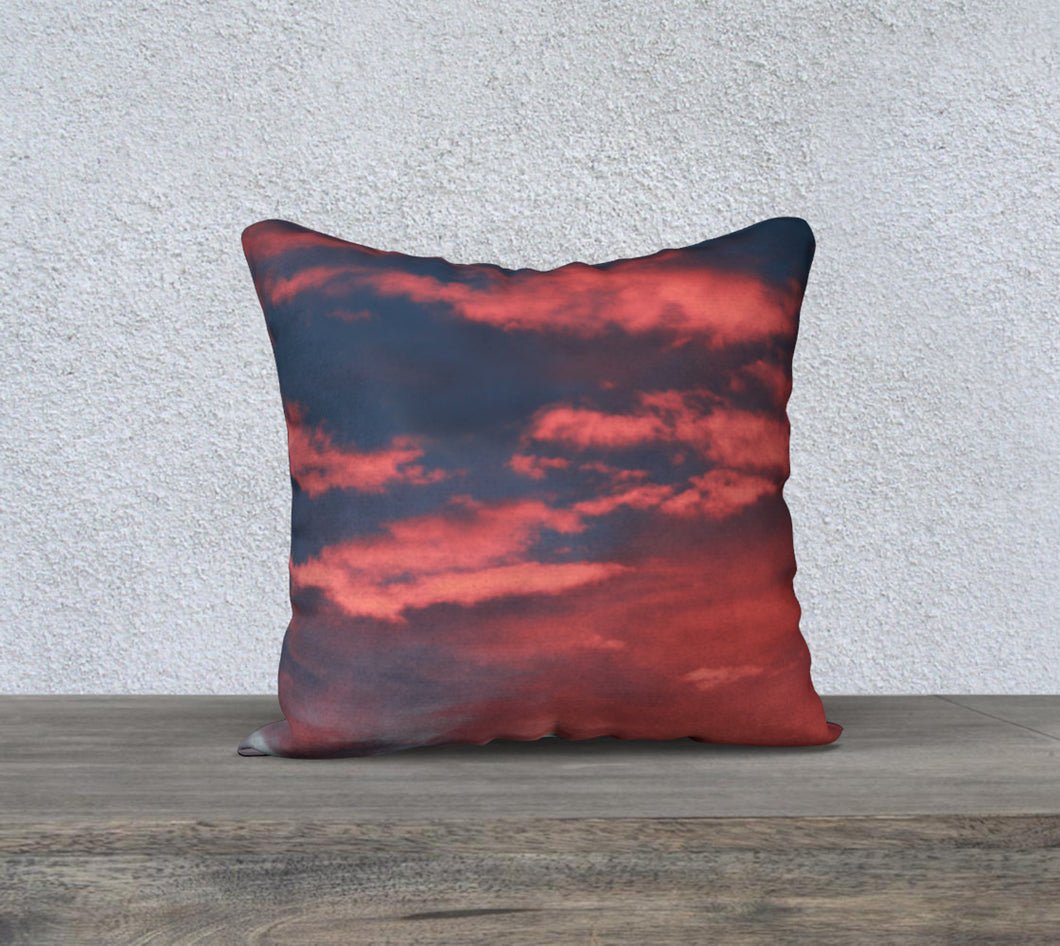 Alberta Sky Illuminated Pink Clouds ealanta 18x18 cushion cover 18