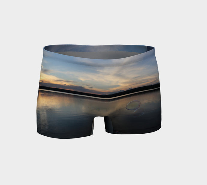 McLeod Lake Alberta reflections and bubbles Shorts- ealanta Art Wear