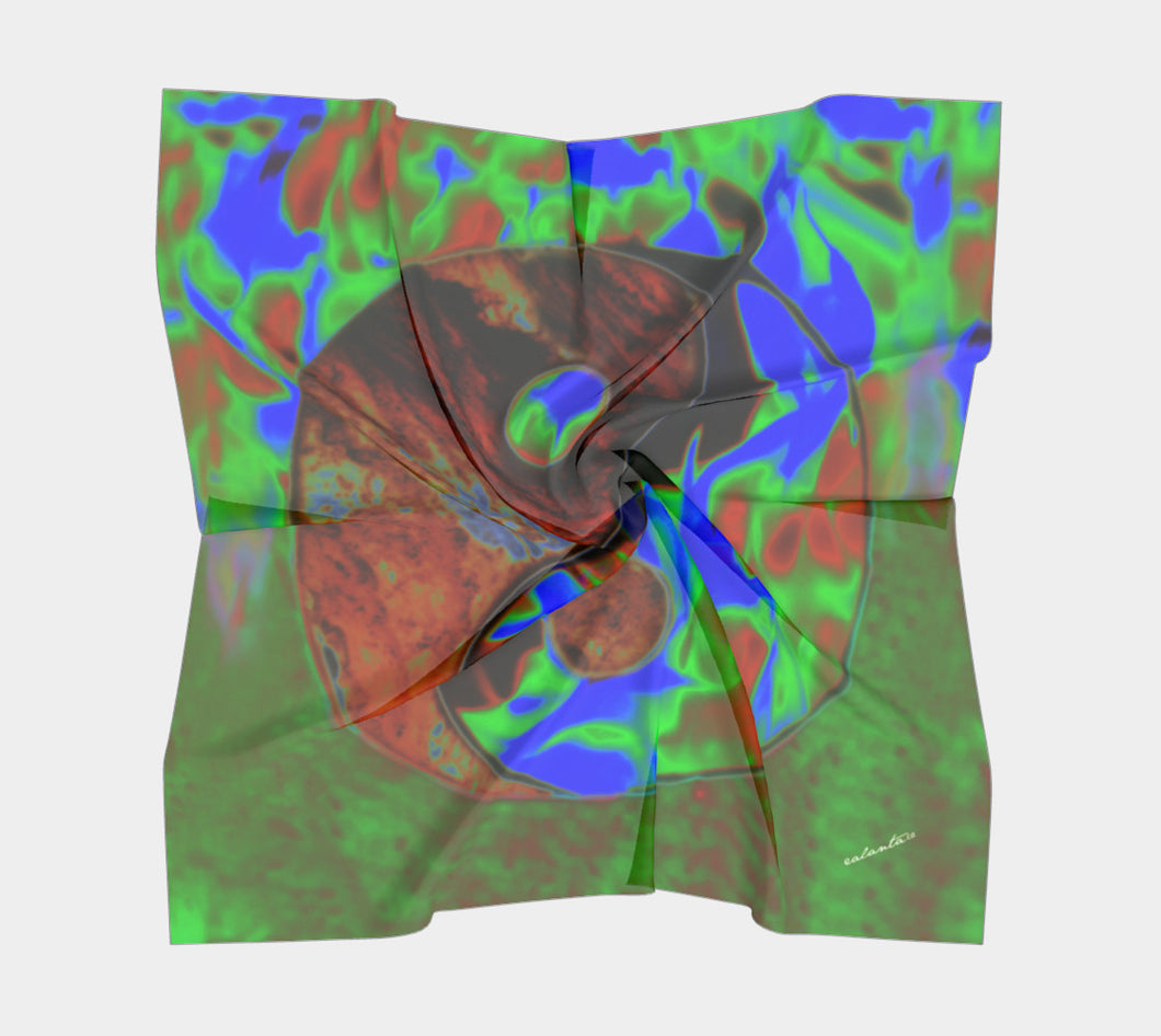 Yin Yang Ice +Fire Colour Shift ealanta Square Scarf- ealanta Art Wear