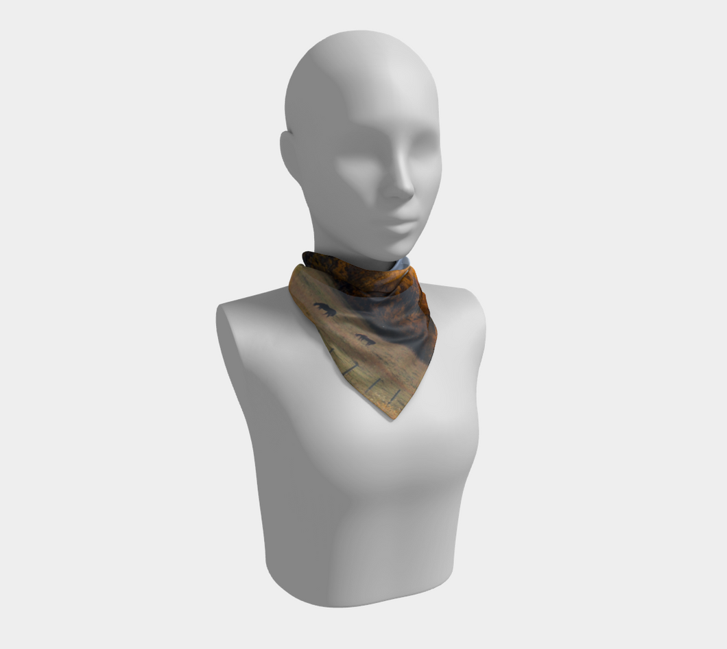 Fall Grazing Alberta ealanta Square Scarf- ealanta Art Wear