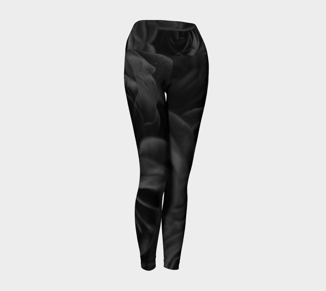 Red Rose Black & White Yoga ealanta Yoga Leggings- ealanta Art Wear