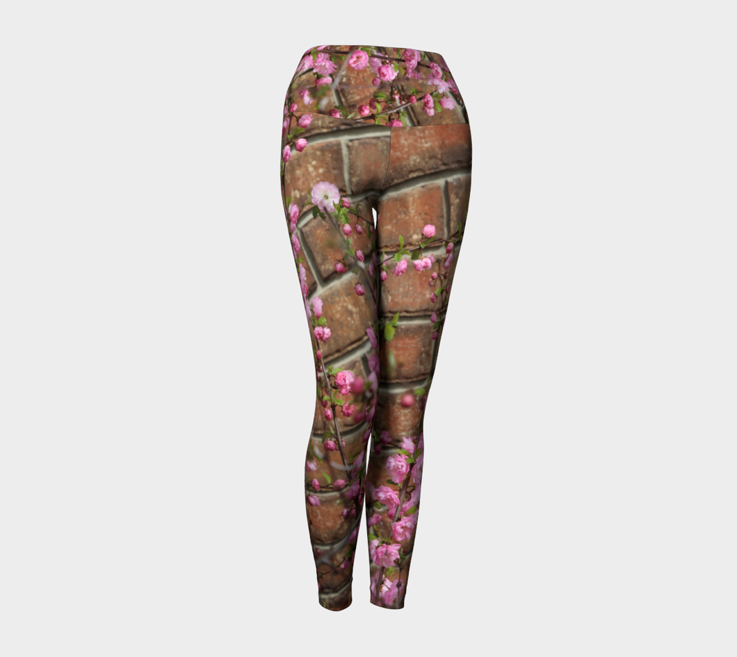 Brick Blossoms Yoga high waist Leggings ealanta Yoga Leggings- ealanta Art Wear