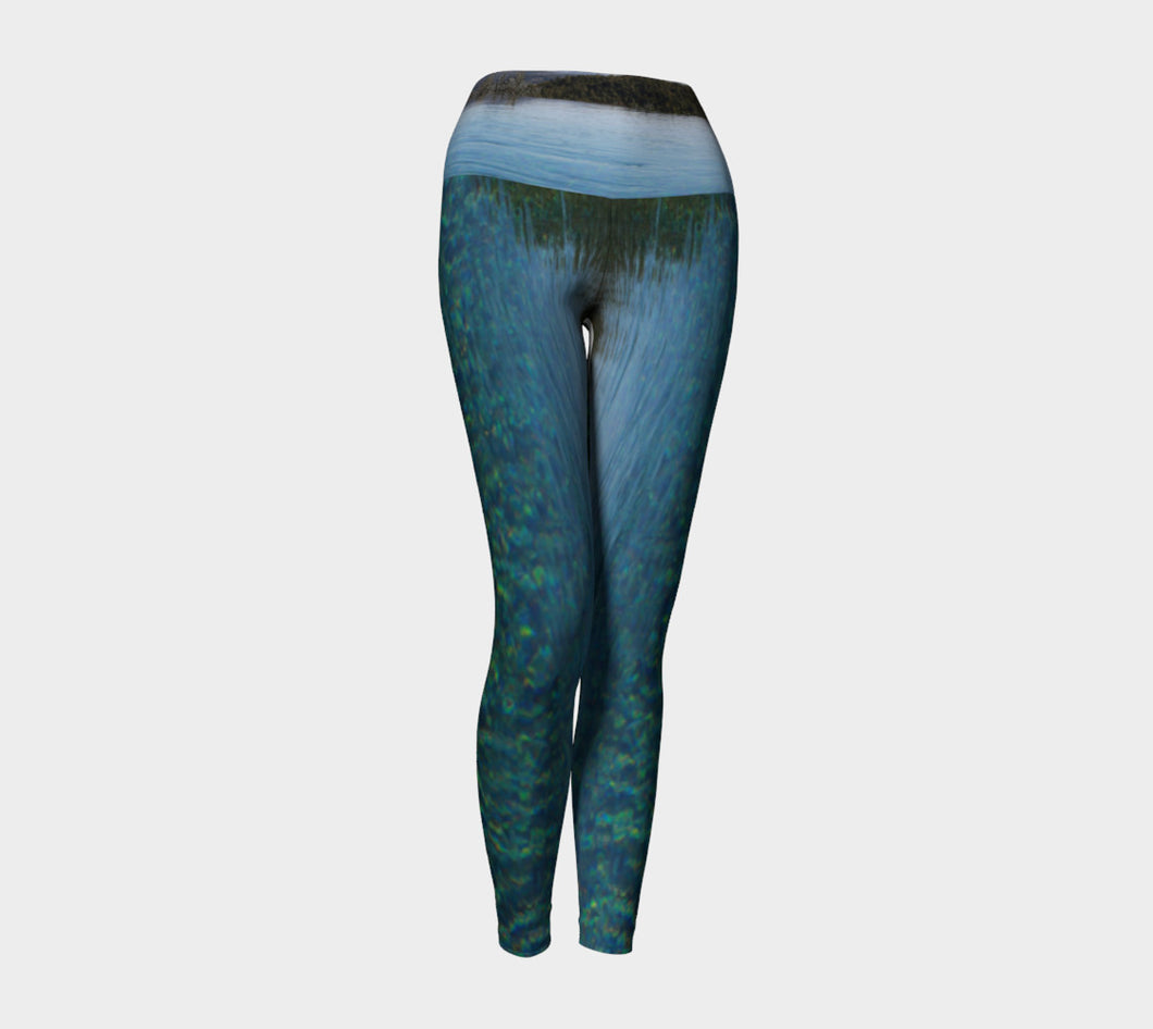 Tuscan Pool View Yoga Leggings Yoga Leggings- ealanta Art Wear