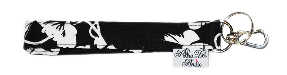 Black & White Rose Key Wristlet