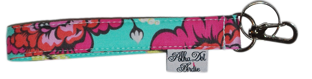 Aqua Bloom Key Wristlet