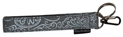 Grey Metallic Key Wristlet