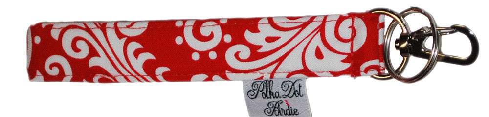Red & White Damask Key Wristlet