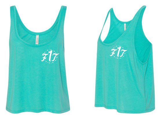 "Women's Crop Top Tank ""Cayan Blue"""