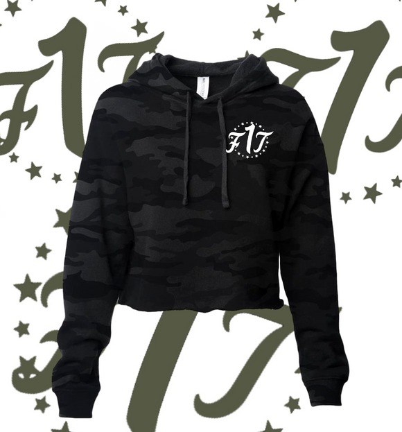"Women's ""Black Camo"" Crop Pullover"