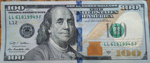 $100 dollar bill security ribbon