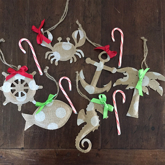 Burlap Christmas Ornaments- Set of 6
