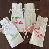 Holiday Linen Wine Bags