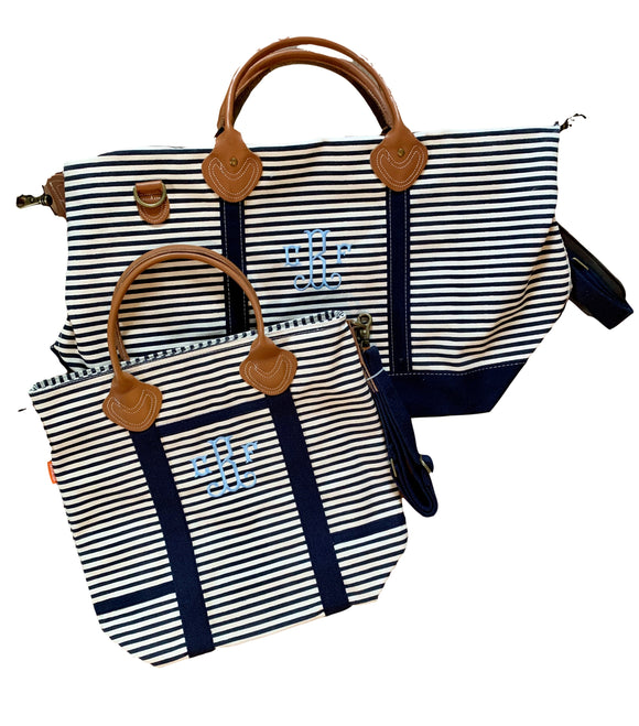 Navy Striped Canvas Weekender