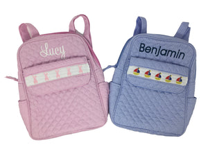 Smocked Gingham Baby Backpack
