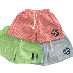 Boys Gingham Swim Trunks