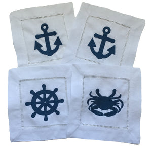 Nautical Cocktail Napkins- Set of 4