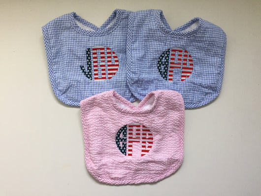 Stars and Stripes Seersucker Bib