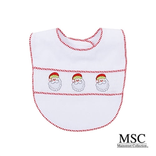 Smocked Christmas Bib + Burp Cloth Set