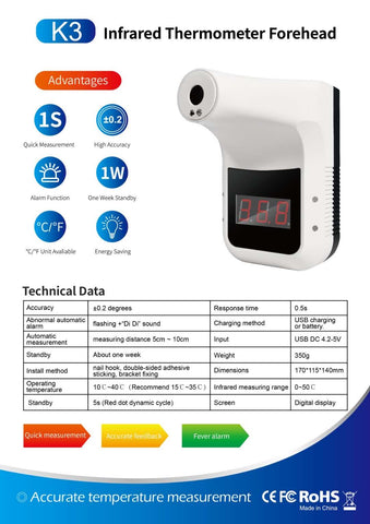 Optical Scanner Infrared Forehead Thermometer