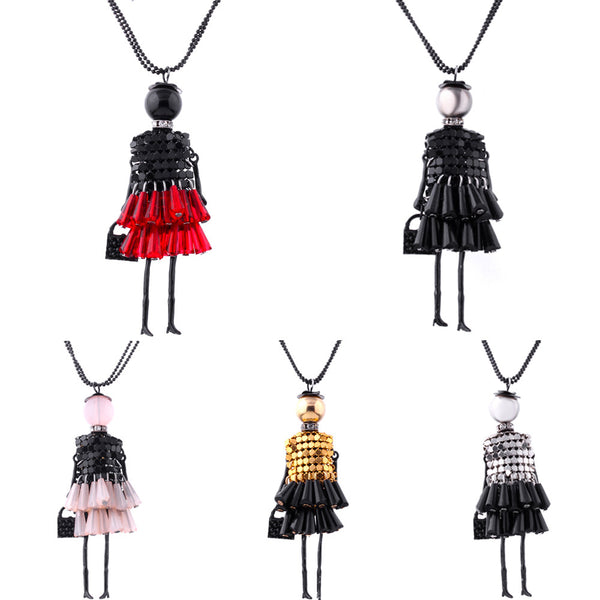 2017 Brand doll Pendant Necklace Dress Doll Necklaces & Pendants Maxi collares Women Gift collier Statement Necklace Dropship