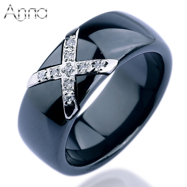 A&N Factory Price Fashion Rings Jewelry Female White Black Ceramic Boho Rings With Inlaid Crystal CZ Diamond Rings for Women