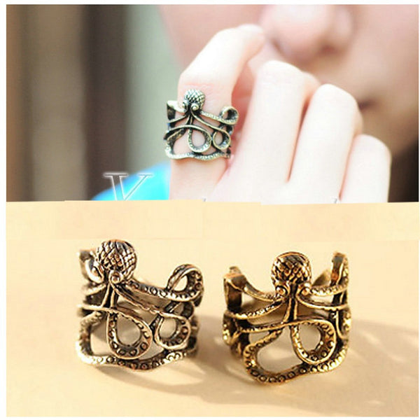Fashion Antique Rock Style Pirates Of The Caribbean Paul Octopus Carved Mid Finger Rings Outstanding Ornament
