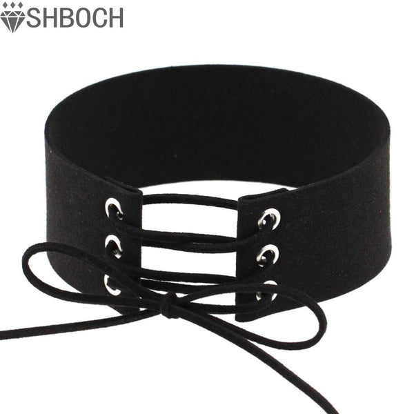 Lace up Choker Black Velvet Choker Necklace Women Gothic Chokers 2016 Neck Boho Jewelry  Harajuku Big Chunky Necklace Collier