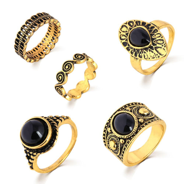 Turkish Ring Vintage Ring Sets 5 PCS Antique Alloy Nature Blue Stone Midi finger Rings for Women Steampunk Anillos Dropship, Metal Color - Antique Gold Plated
