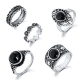 Turkish Ring Vintage Ring Sets 5 PCS Antique Alloy Nature Blue Stone Midi finger Rings for Women Steampunk Anillos Dropship, Metal Color - Antique Silver Plated