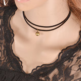 hot sale lowest price Celebrity Double Layer Black Imitation Leather Choker Necklace Gothic simple black r vintage necklace