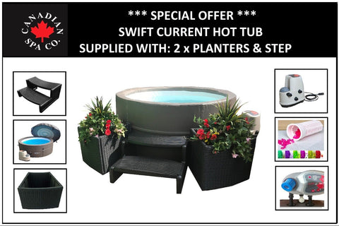 Canadian Spa Swift Current Hot Tub Package Deal - 2 x Planters & Steps Included
