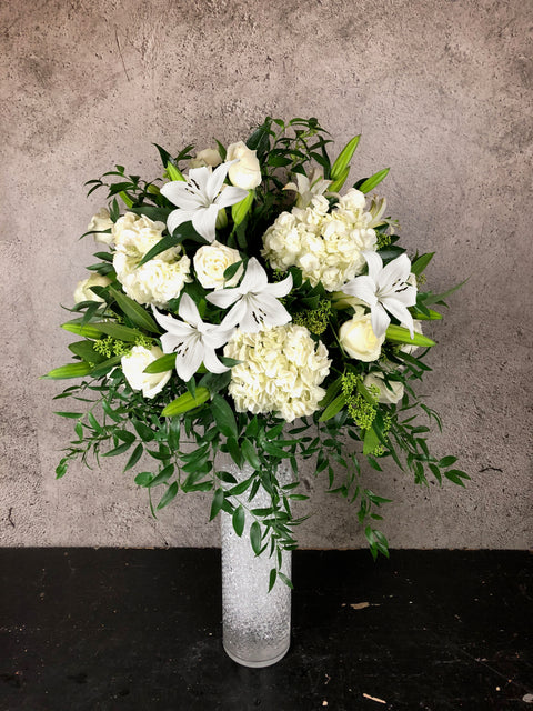 "VA-5 Deluxe white Arrangement in 18"" Tall Vase"