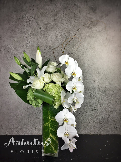 "VA-6 Deluxe White Arrangement in 12"" square vase"