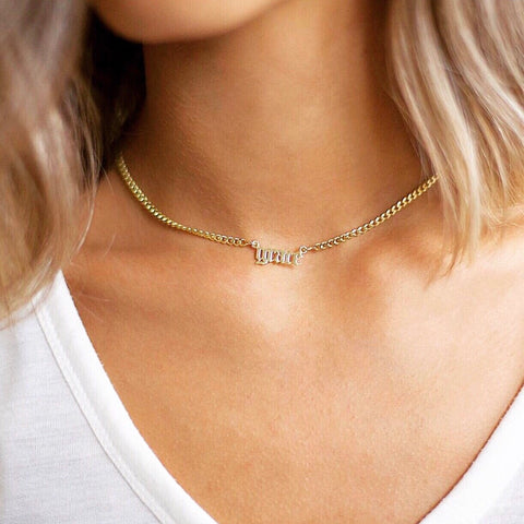 ZOE INITIAL CURB NECKLACE