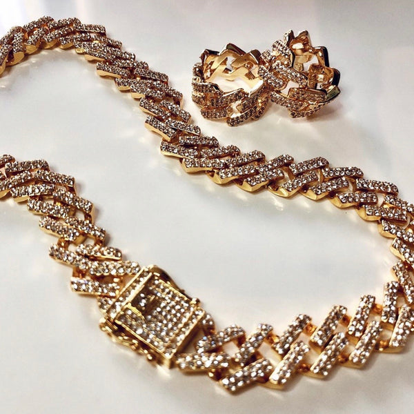GISELLE CUBAN SQUARE LINK NECKLACE/BRACELET SET