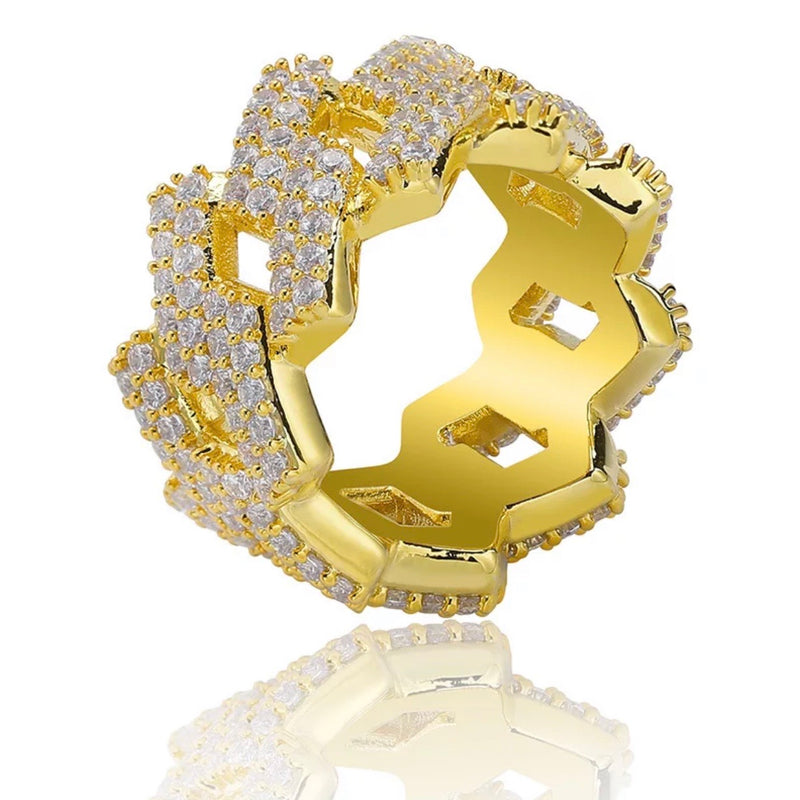 ALECEA SQUARE CUBAN LINK RING