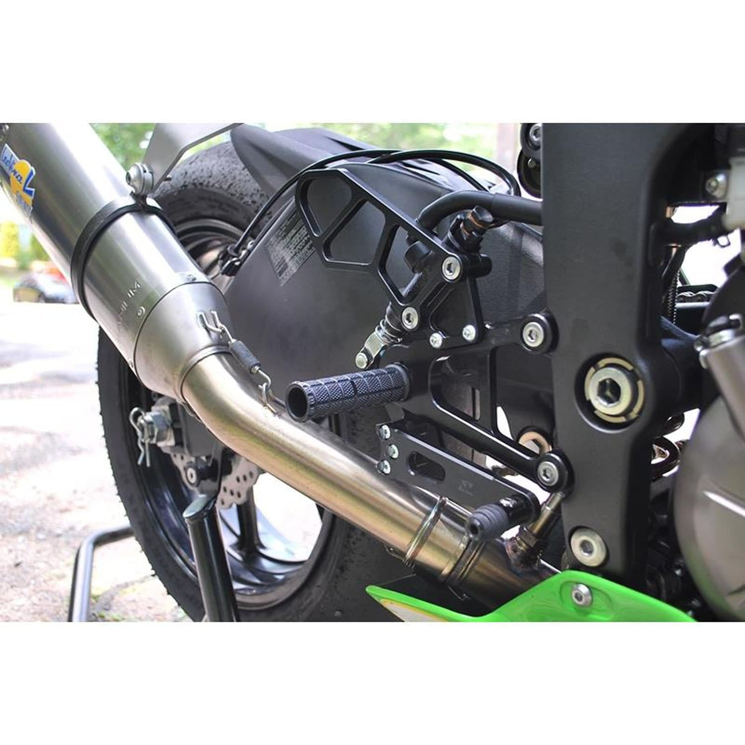 05-0151 Kaw ZX6R '19 Rearset Kit W/Brake Pedal, Black - Woodcraft Technologies - Motorcycle Parts