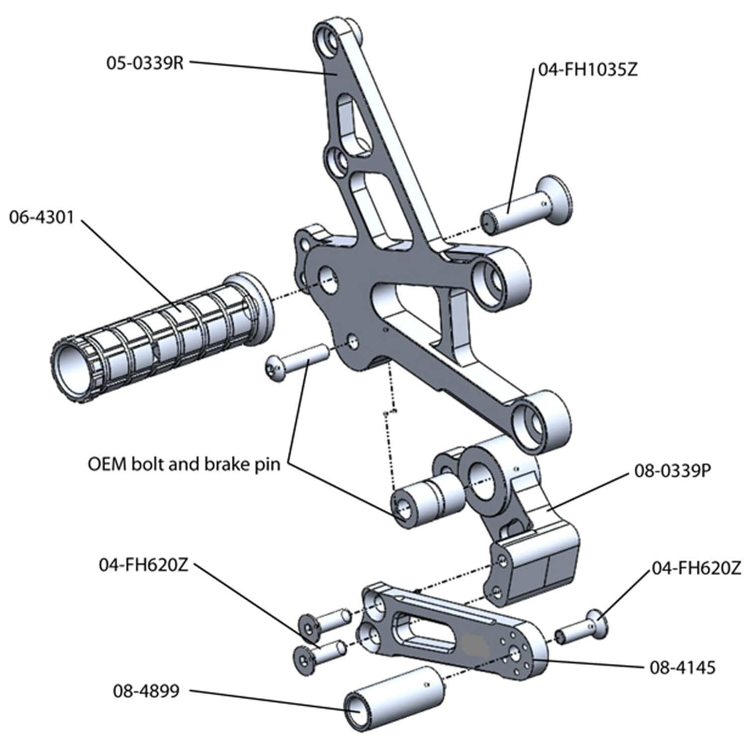 05-0339B Honda CBR1000RR Complete Rearset 2008-2016 - Woodcraft Technologies - Motorcycle Parts