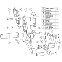 05-0376B Honda CBR250R/300R Complete Adjustable Rearset  - GP Shift - Woodcraft Technologies - Motorcycle Parts