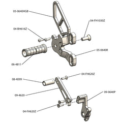 05-0640BA Ducati 848/1098/1198/848 EVO Complete Rearset  SLV - Woodcraft Technologies - Motorcycle Parts